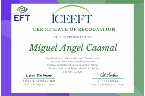 Reconocimiento Psicologo Miguel Caamal